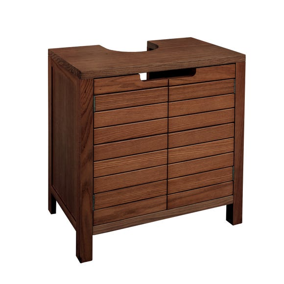 Marseille Acacia Slatted Under Sink Unit Brown