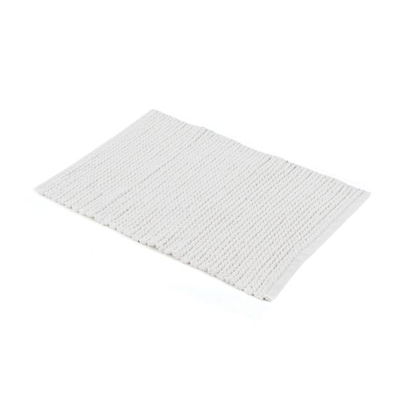 White Cable Knit Bath Mat