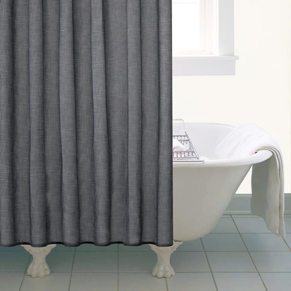 Grey Slub Print Shower Curtain Grey