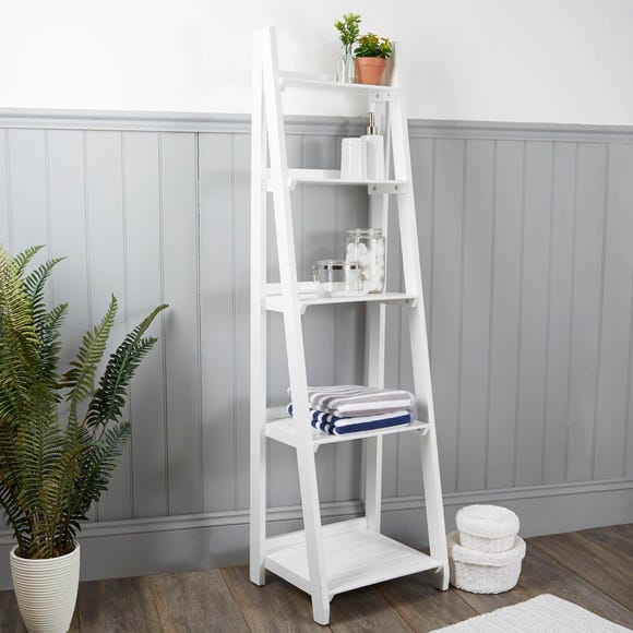 White Bathroom Ladder Shelf Unit – Doubletcattle.com