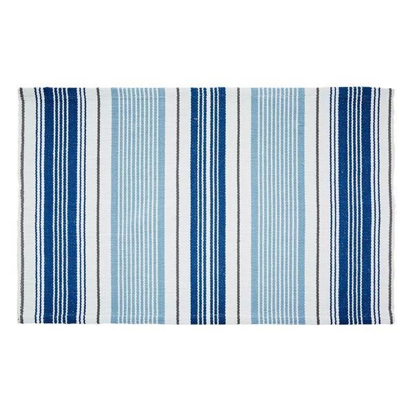 Nautical Stripe Flatweave Bath Mat Blue