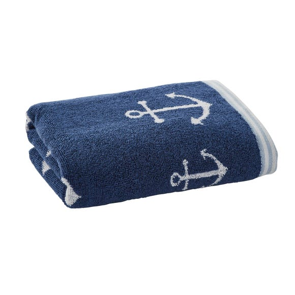 Anchor Motif Navy Hand Towel Navy (Blue) undefined
