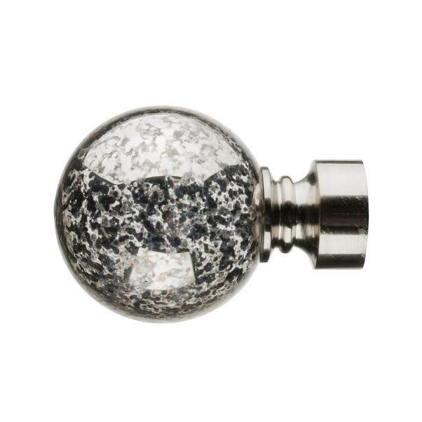 Mix and Match Satin Silver Mercury Glass Ball Finials Dia. 28mm Satin Steel (Silver)