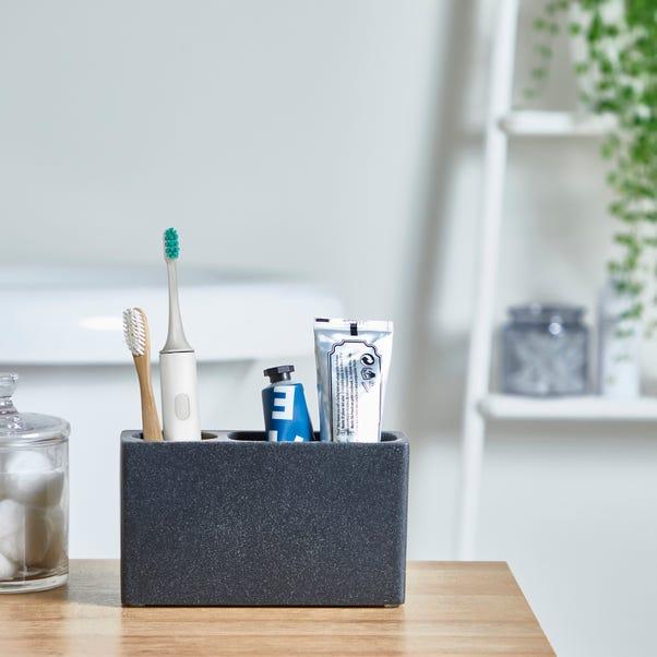 Grey Resin Electric Toothbrush Holder Grey