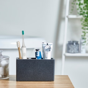 Grey Resin Electric Toothbrush Holder