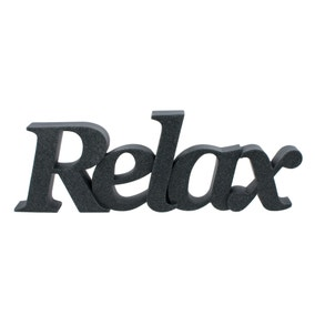Relax Grey Resin Word