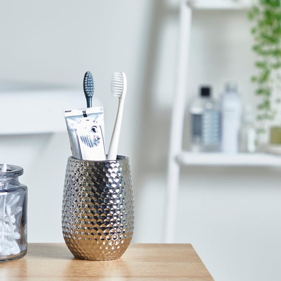 Silver Hammered Effect Tumbler Silver