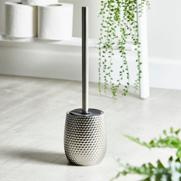 Silver Hammered Effect Toilet Brush Silver