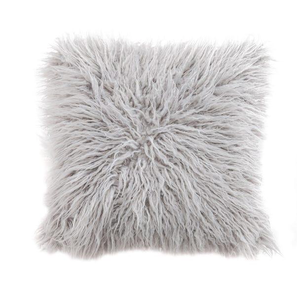 Mongolian Grey Faux Fur Cushion Grey