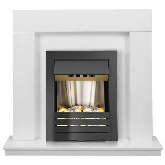 Malmo Fireplace Suite in white with Electric Fire 1000-2000W 43 Inch White