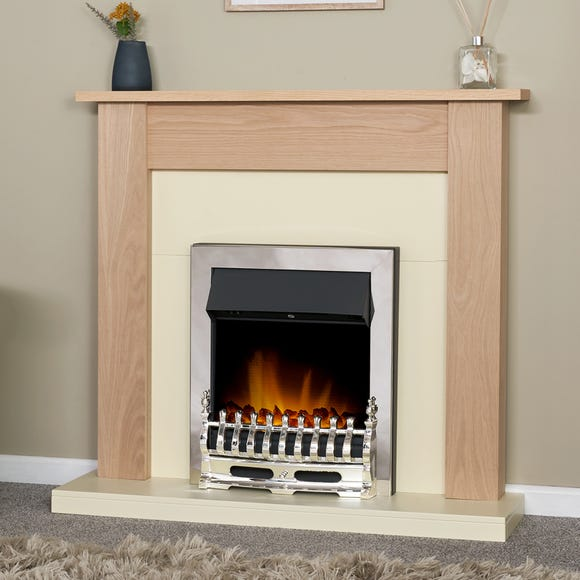 2000W Electric Fire with Southwold Chrome & Oak Fireplace Suite Natural