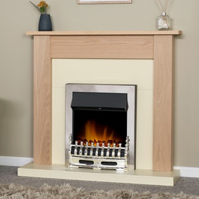 2000W Electric Fire with Southwold Chrome & Oak Fireplace Suite