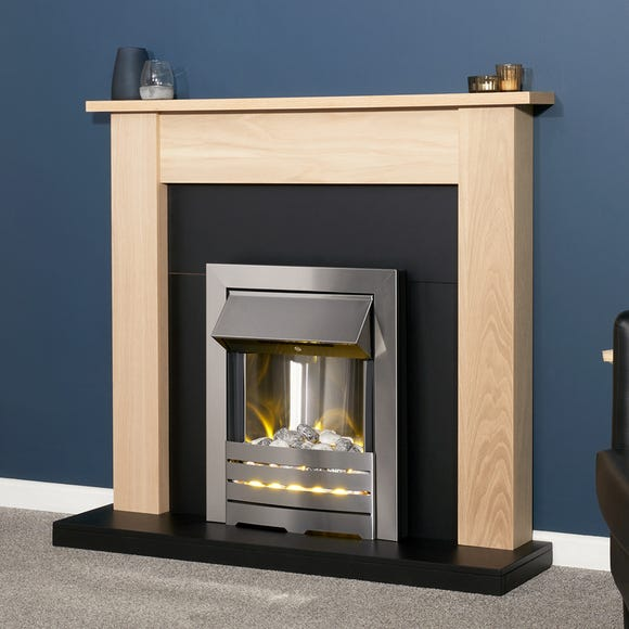 Southwold Steel and Oak Electric Fireplace Suite Natural