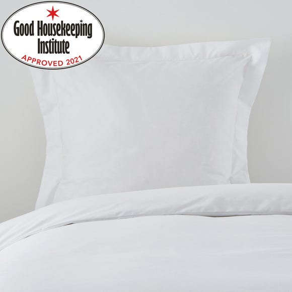 Non Iron Plain Dye White Continental Square Pillowcase White