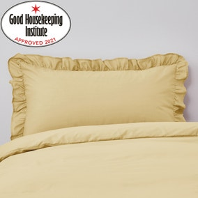 Non Iron Plain Dye Ochre Frilled Pillowcase