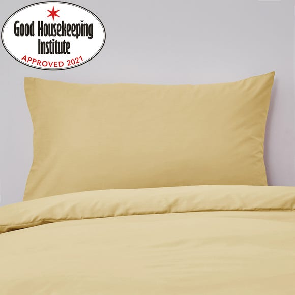 Non Iron Plain Dye Ochre Housewife Pillowcase Pair