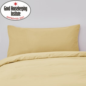 Non Iron Plain Dye Kingsize Ochre Pillowcase Pair