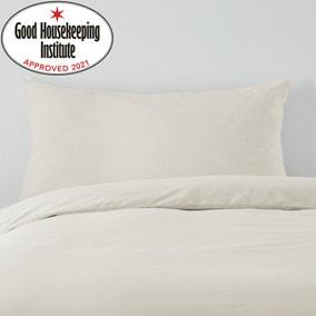 Non Iron Plain Dye Ivory Bolster Pillowcase