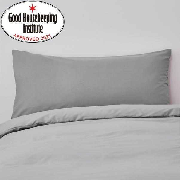 Non Iron Plain Dye Slate Bolster Pillowcase