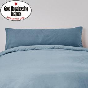 Non Iron Plain Dye Denim Blue Large Bolster Pillowcase