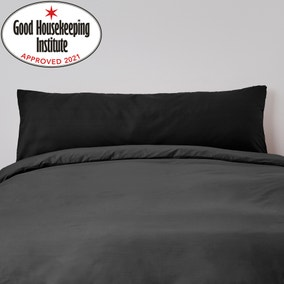 Non Iron Plain Dye Black Large Bolster Pillowcase