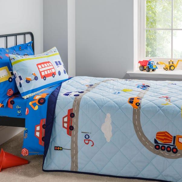 Transport Bedspread Multi Coloured