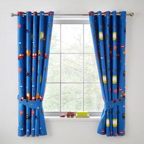 Transport Blue Blackout Eyelet Curtains