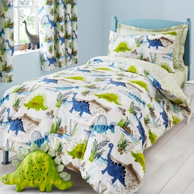 Roar! Dinosaur Reversible Green Duvet Cover and Pillowcase Set