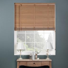 Oak Finish Wooden Venetian Blind 50mm Slats 165 x 160cm