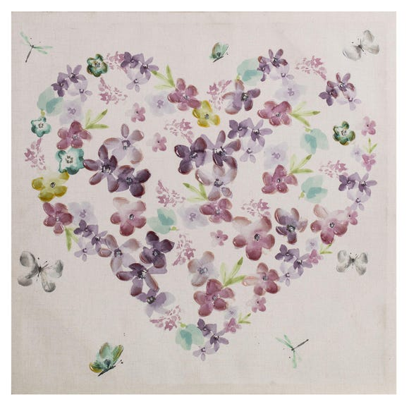 Embellished Heart Canvas Multi Coloured