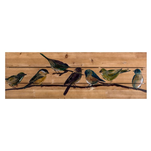 Birds on Branch Wooden Plaque Natural
