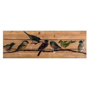 Birds on Branch Wooden Plaque