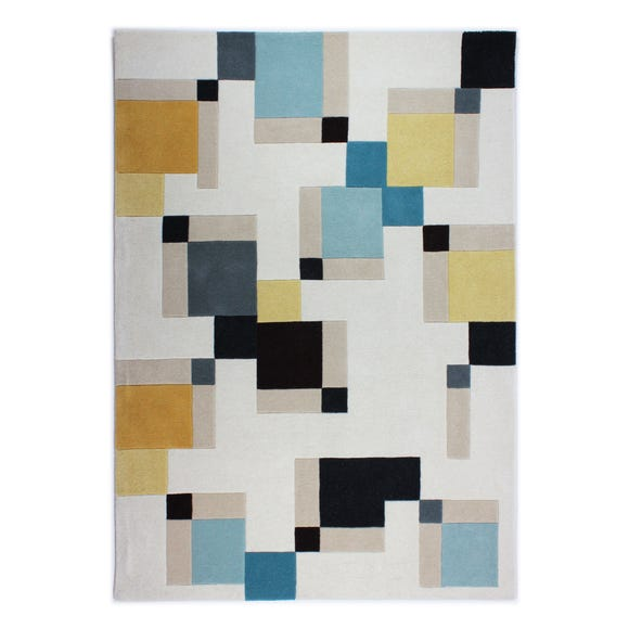 Illusion Abstract Blocks Rug Abstract Blue and Ochre undefined