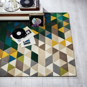 Green Illusion Geometric Prism Rug
