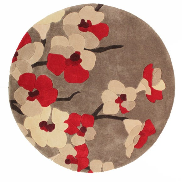 Infinite Blossom Circle Rug Red undefined