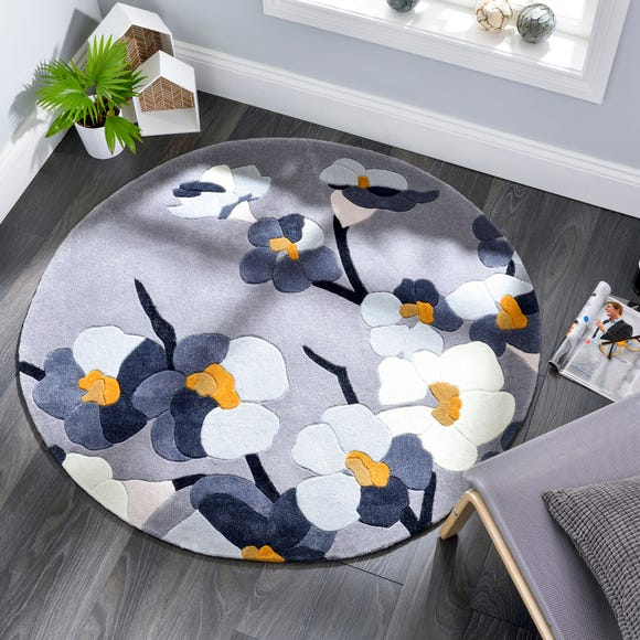 Infinite Blossom Circle Rug Grey undefined