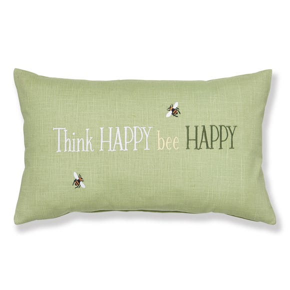 Think Happy Bee Happy Green Cushion Green