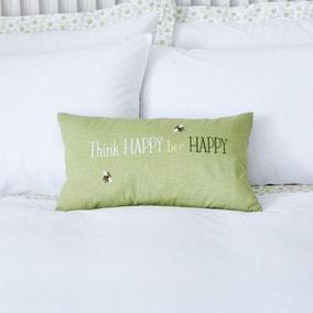 Think Happy Bee Happy Green Cushion