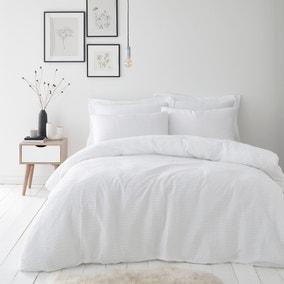 Alissa 100% Cotton White Duvet Cover and Pillowcase Set