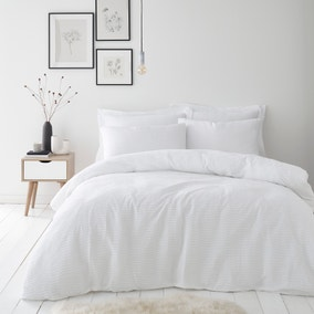 Alissa White 100% Cotton Duvet Cover and Pillowcase Set