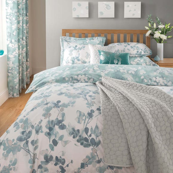 Honesty Teal Reversible Duvet Cover and Pillowcase Set Teal (Blue) undefined