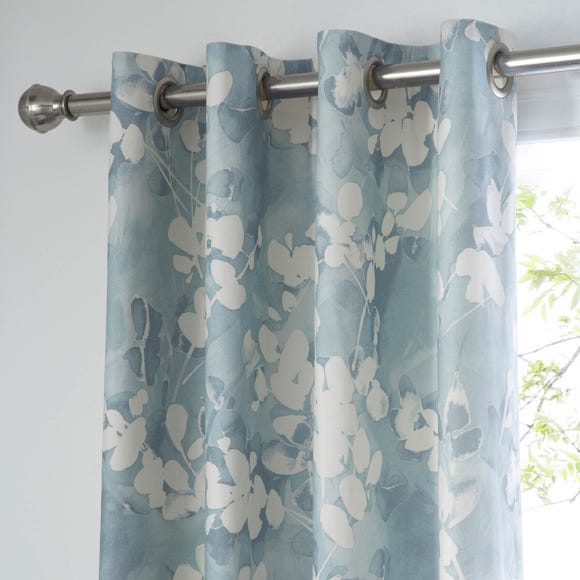 Honesty Teal Thermal Eyelet Curtains Teal (Blue) undefined