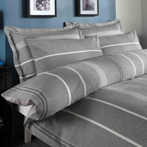Willington Grey Striped Woven Duvet Cover and Pillowcase Set Grey undefined