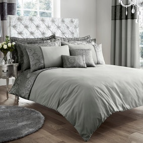 Lucia Embroidered Silver Duvet Cover and Pillowcase Set