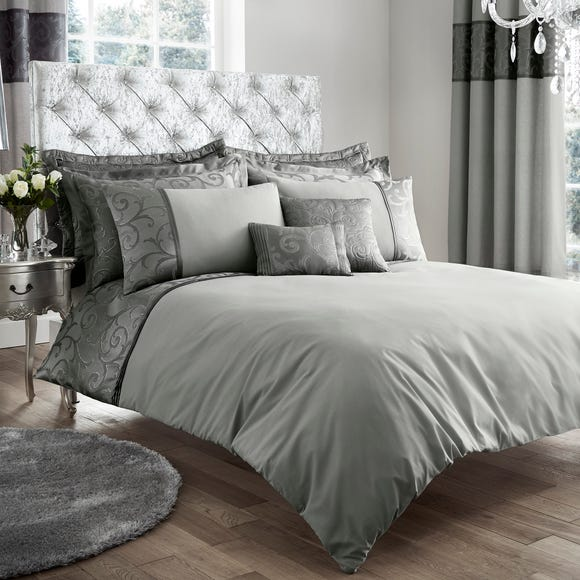 Lucia Embroidered Silver Duvet Cover and Pillowcase Set Silver undefined
