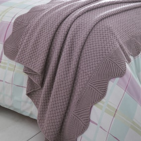 Mauve Knitted 125cm x 150cm Throw