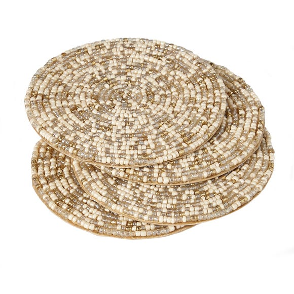 Pack of 4 Natural Beaded Coasters Natural