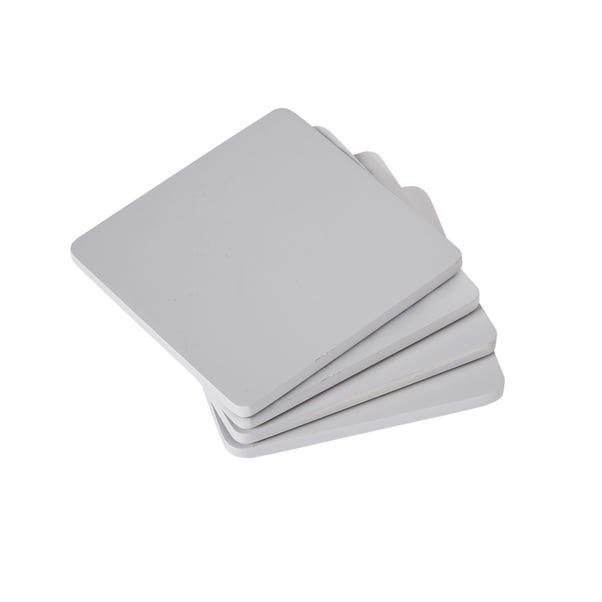 Pack of 4 Grey Wood Coasters Grey