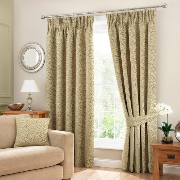 Willow Green Pencil Pleat Curtains Green undefined