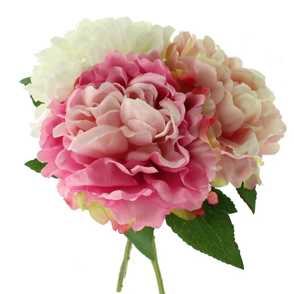 Artificial Peony Pink Set of 3 Stems 40cm Pink